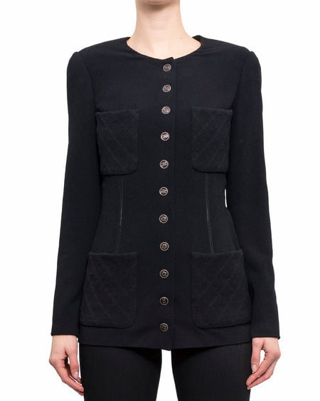 Chanel Spring 2019 Black Rayon Fitted Jacket with CC Buttons - 38