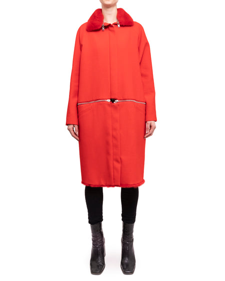 Giambattista Valli Fall 2013 Red Wool Zipper Coat with Mink Fur Trim - S