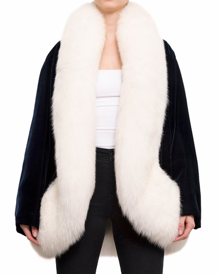 YSL Haute Couture 1962-2002 Navy Velvet White Fox Fur Evening Coat - S/M