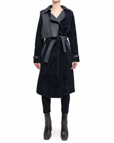 Mugler Pre-Fall 2015 Navy Shearling Trench Coat - 38
