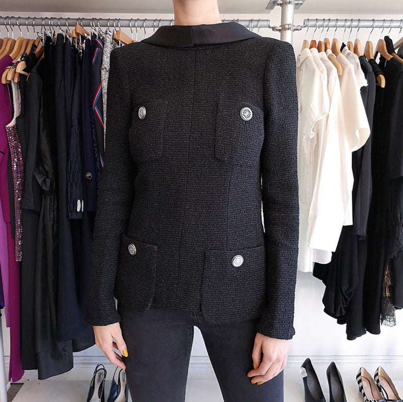Chanel 17S Black Tweed Jacket with V Back and Satin Collar - 6