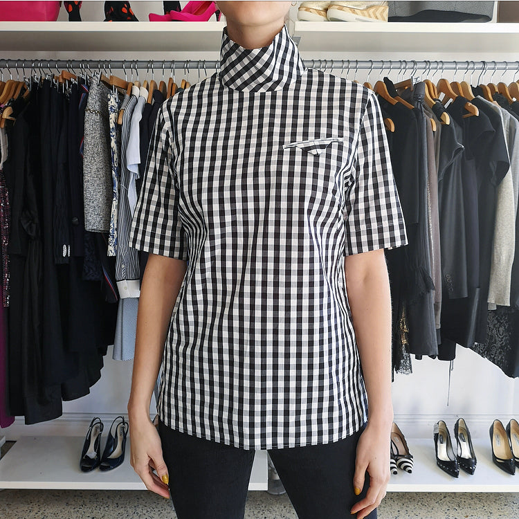 Facetasm Black and White Gingham Check Top - 6
