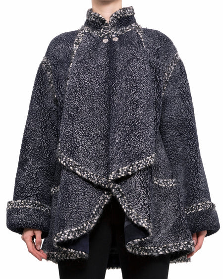 Chanel Pre-Fall 2015 Salzburg Blue Shearling Short Coat - 38