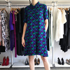 Marc Jacobs Collection Blue Green Teal Graphic Op Art Shift Dress - 6 / 8