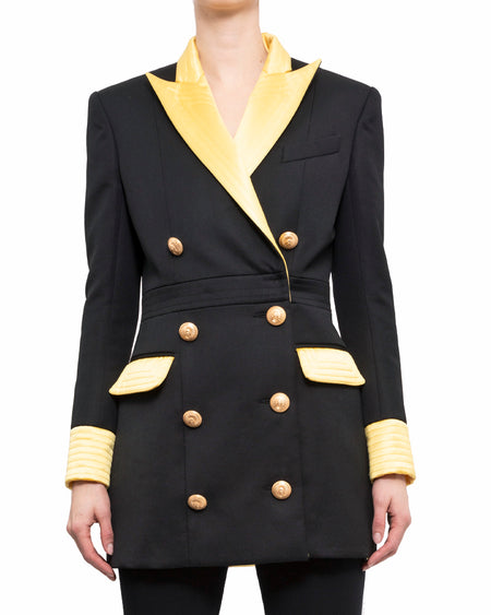 Balmain Black and Yellow Double Breasted Jacket - 38
