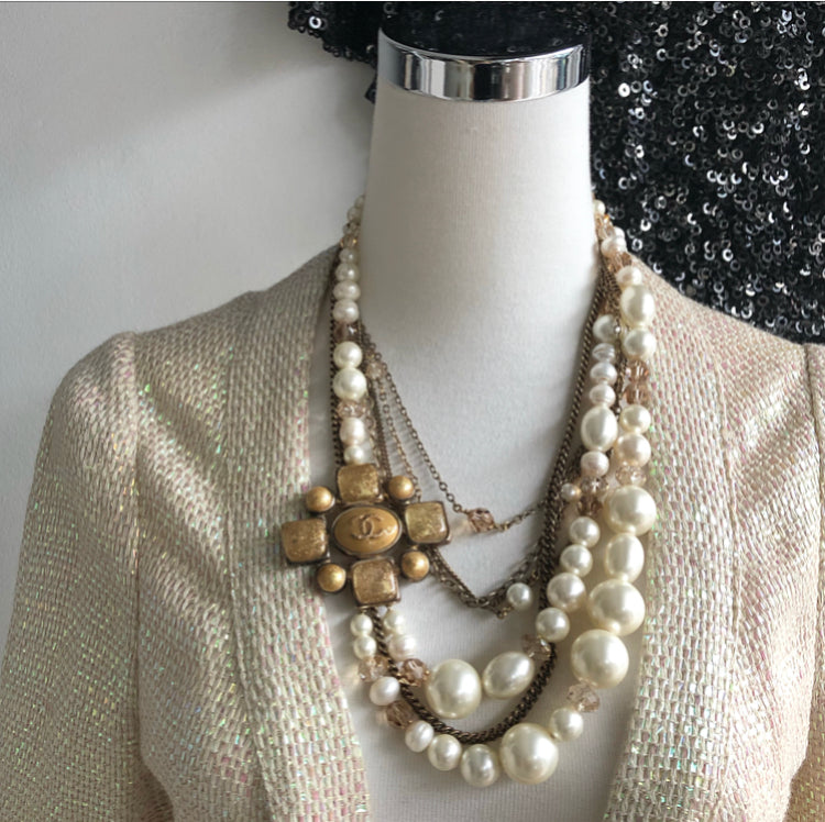 Chanel 2007 Fall Multi-strand Pearl and Gold Chain Gripoix Necklace
