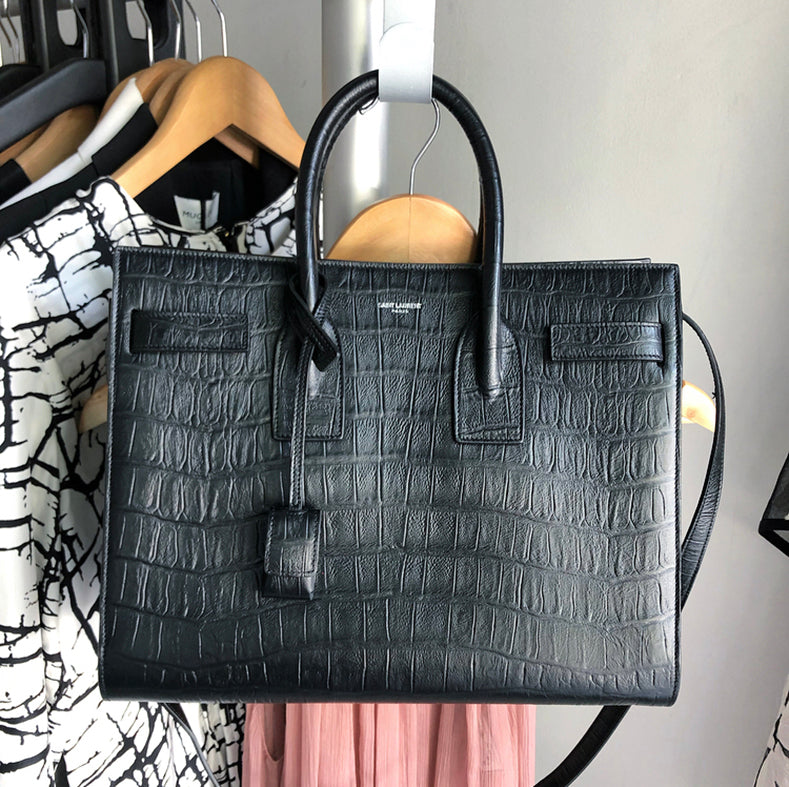 Saint Laurent Sac de Jour Croc Effect Black Small Tote Bag