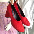 Celine Red Suede Cylinder Heels Pumps Shoes - 38