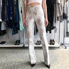 Giambattista Valli Fall 2015 Pale Dove Grey Jacquard Flared Pants - 2