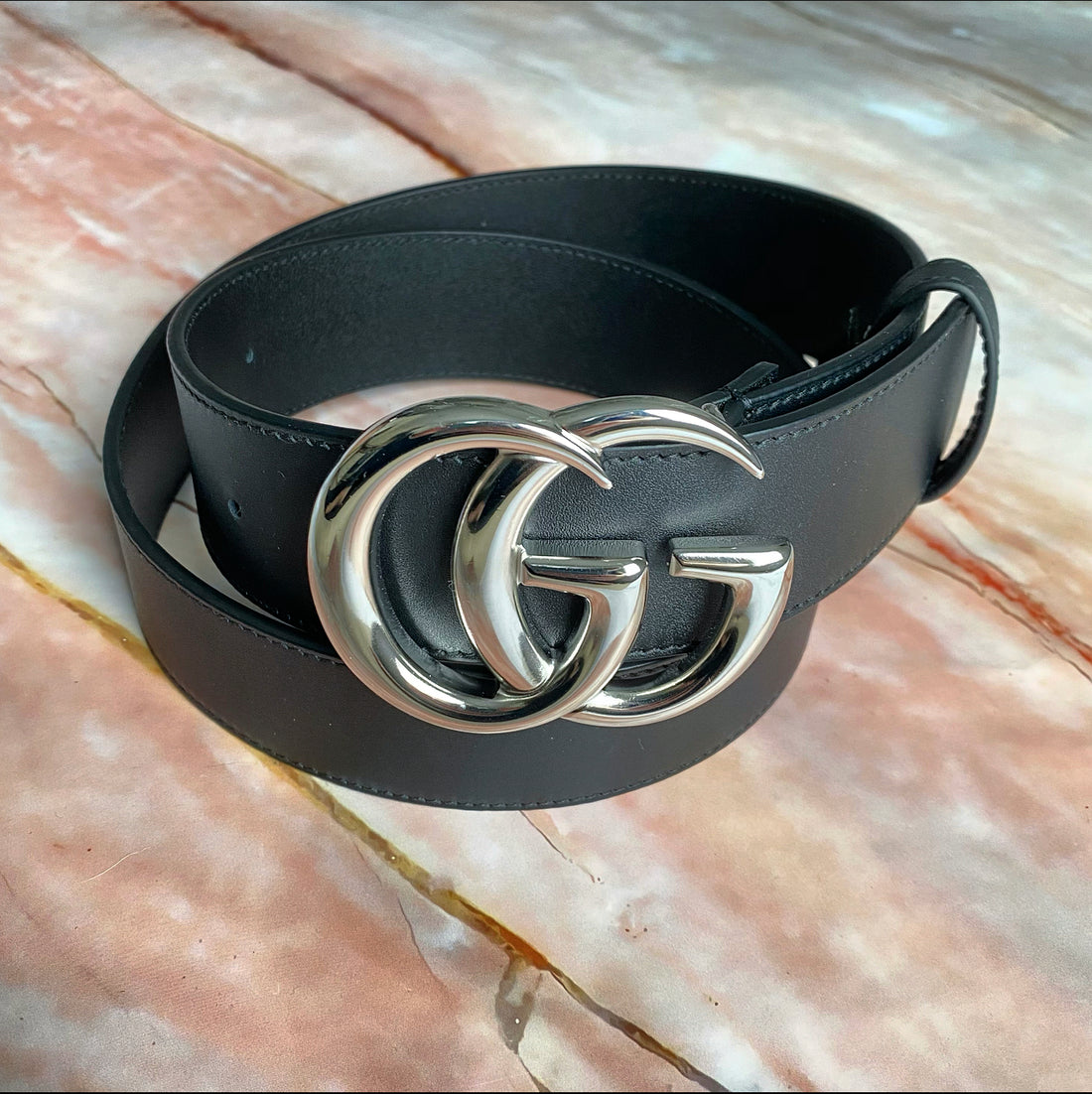 Gucci Marmont Wide Belt with Silvertone Metal Buckle - 32 / 36