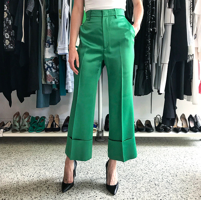Gucci Green Satin Wide Leg Cuff Trouser Pants - 4