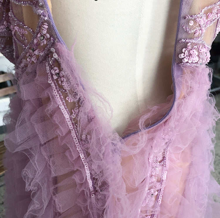 Valentino Purple Strapless Tulle Ruffle Bead Empire Dress - XS