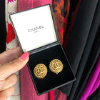 Chanel Vintage Goldtone Button CC Clip On Earrings