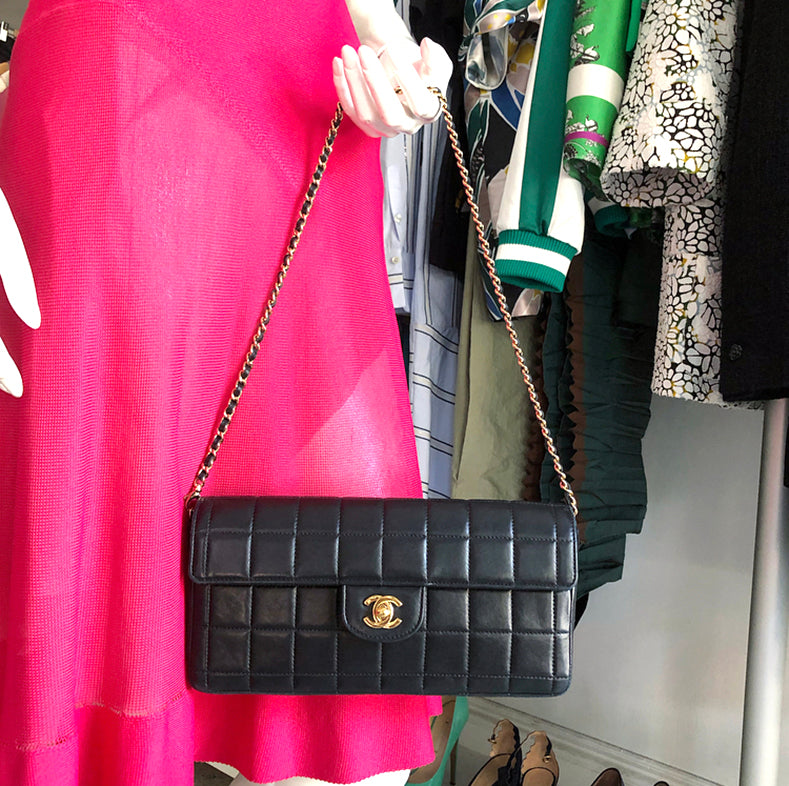 Chanel Black Lambskin Choco Bar East West Flap Bag