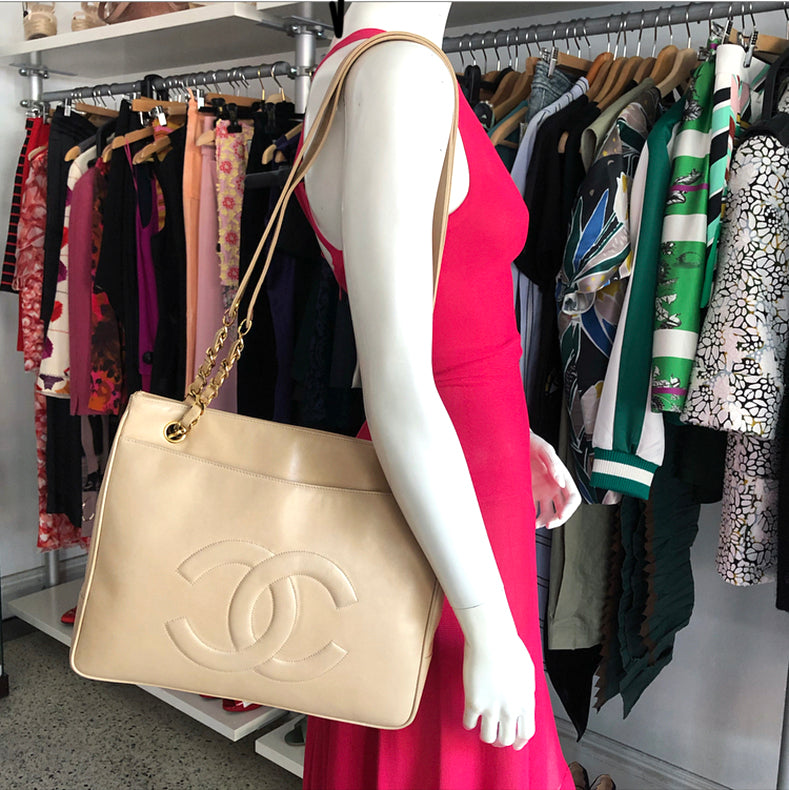 Chanel Vintage 1991 Beige Lambskin Leather CC Tote Bag
