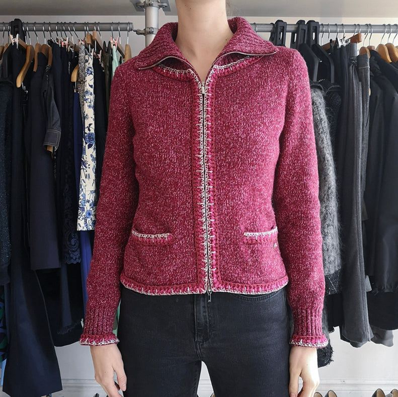 Chanel 16K Raspberry Knit Zip Up Sweater - 6
