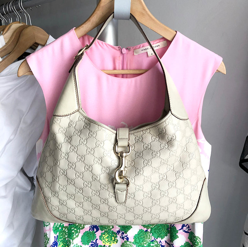 Gucci Guccissima GG Ivory Leather Monogram Hobo Bag