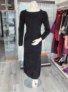 Comme des Garcons Black Shimmer Knit Tinsel Velour Maxi Dress - S