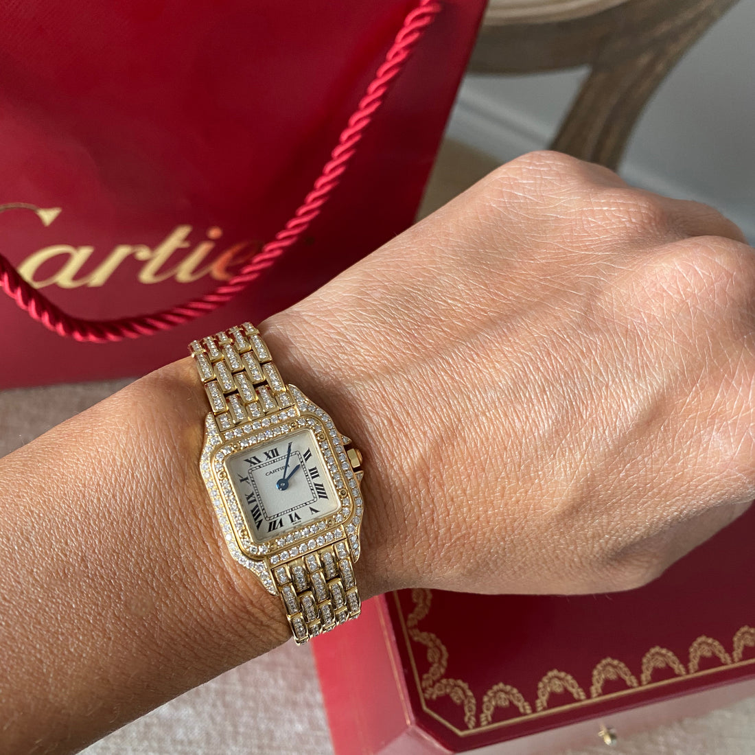 Cartier 18K Yellow Gold Mini 22mm Panthere Ladies Diamond Watch