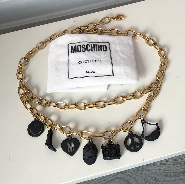 Moschino Couture Chain Belt with Black Rubber Charms