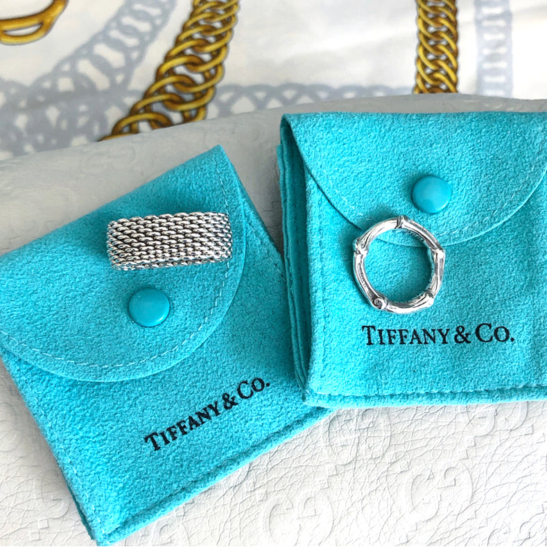 Tiffany and Co. Sterling Silver 1996 Vintage Bamboo Ring - 6 and Co. Sterling Silver Classic Mesh Ring - 8