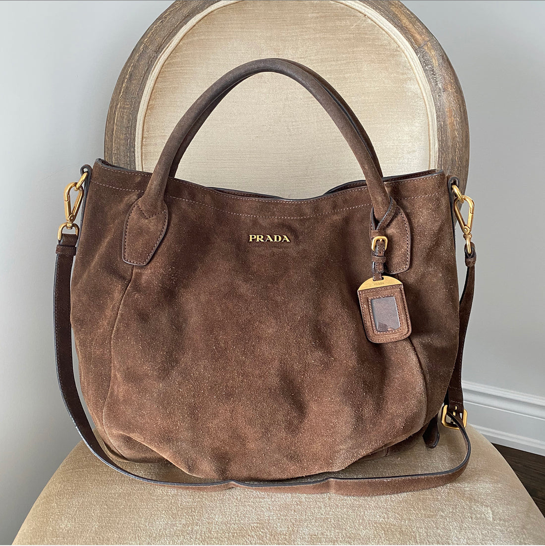 Prada Brown Suede Large Scamosciato Shoulder Tote Bag