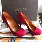 Gucci Raspberry Red Suede Platform Pumps Heels - 6.5