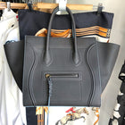 Celine Charcoal Grey and Blue Medium Phantom Tote Bag New