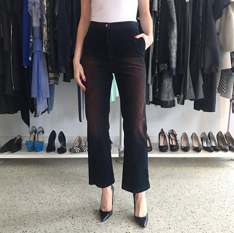 Chanel Pre-Fall 2017 Black and Rust Velvet Ombre Pants - 4