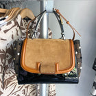 Fendi Silvana Tan Suede and Patent Tricolor Stud Bag