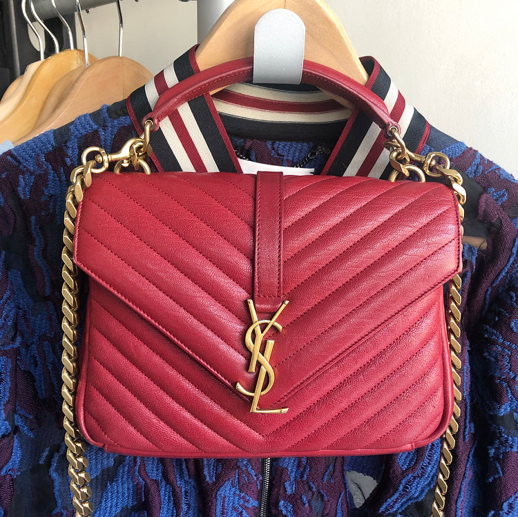 Saint Laurent Red Medium College Crossbody Monogram Chain Strap Bag