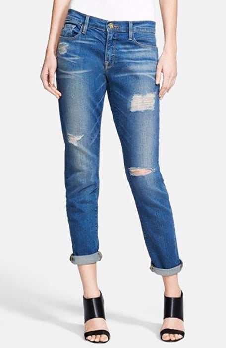 Frame Denim Le Garcon Skinny Low Rise Distressed in Blue Jay Way - 26