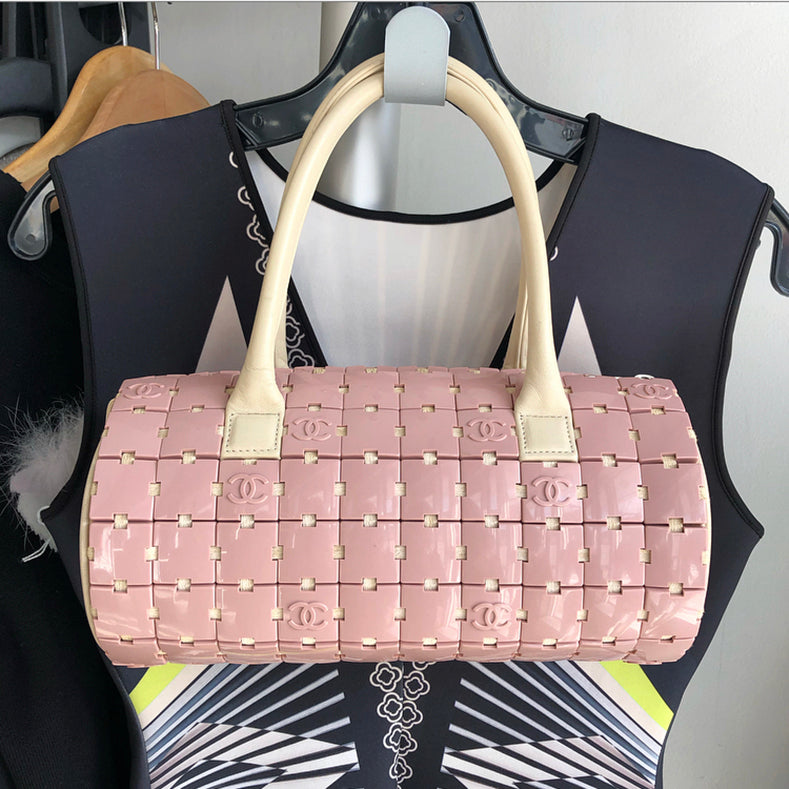Chanel Pink and Ivory CC Logo Resin Tile Barrel Bag