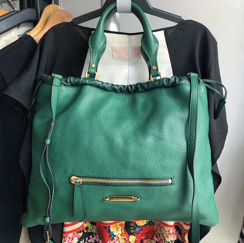 2fc822b9e23c Burberry Green Large Leather Tote Bag with Shoulder Strap – I MISS ...