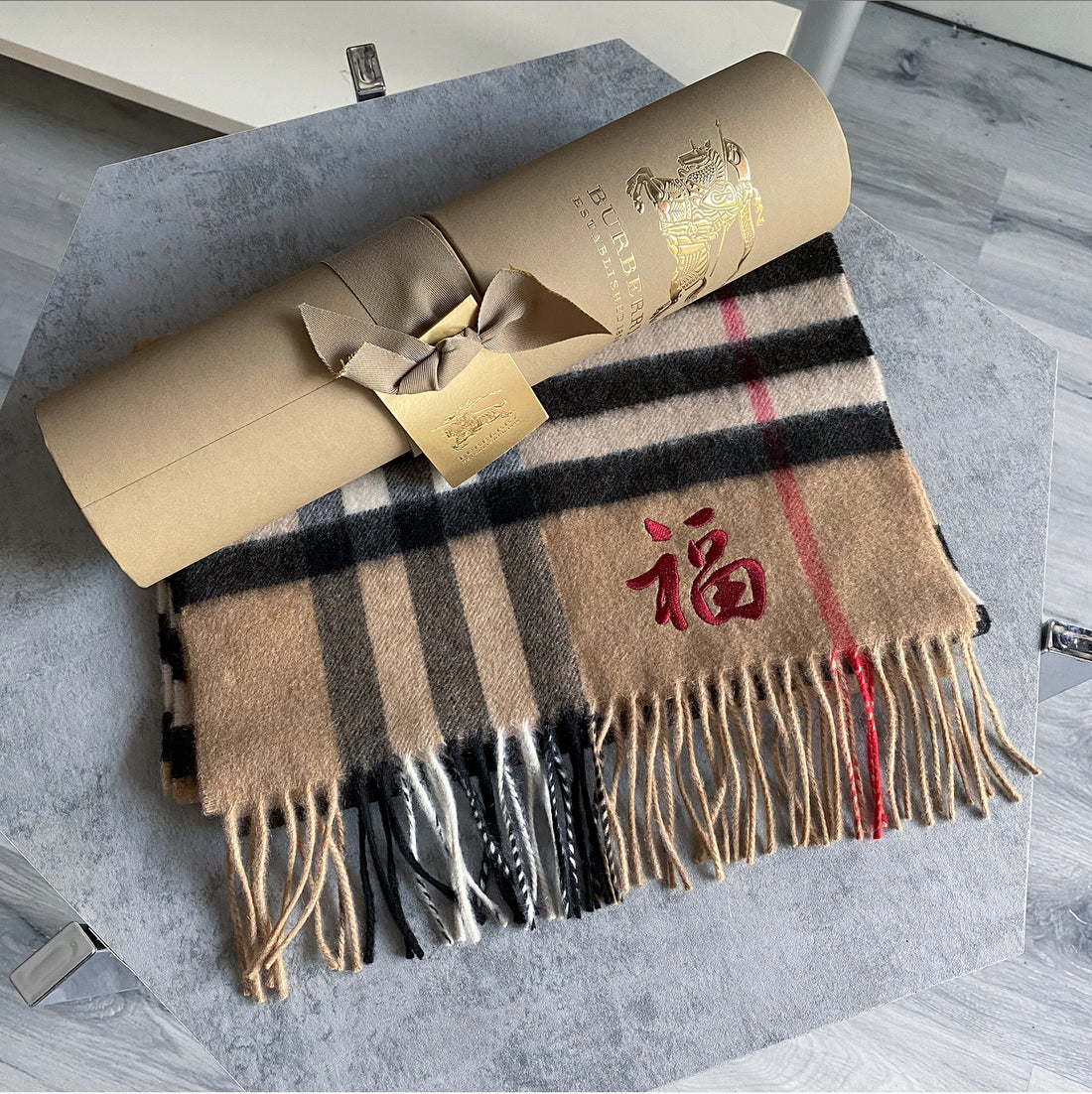 Burberry Nova Check Cashmere with Chinese Good Luck Character