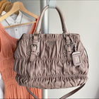 Prada Taupe Gaufre Pleated Two-Way Satchel Tote Bag