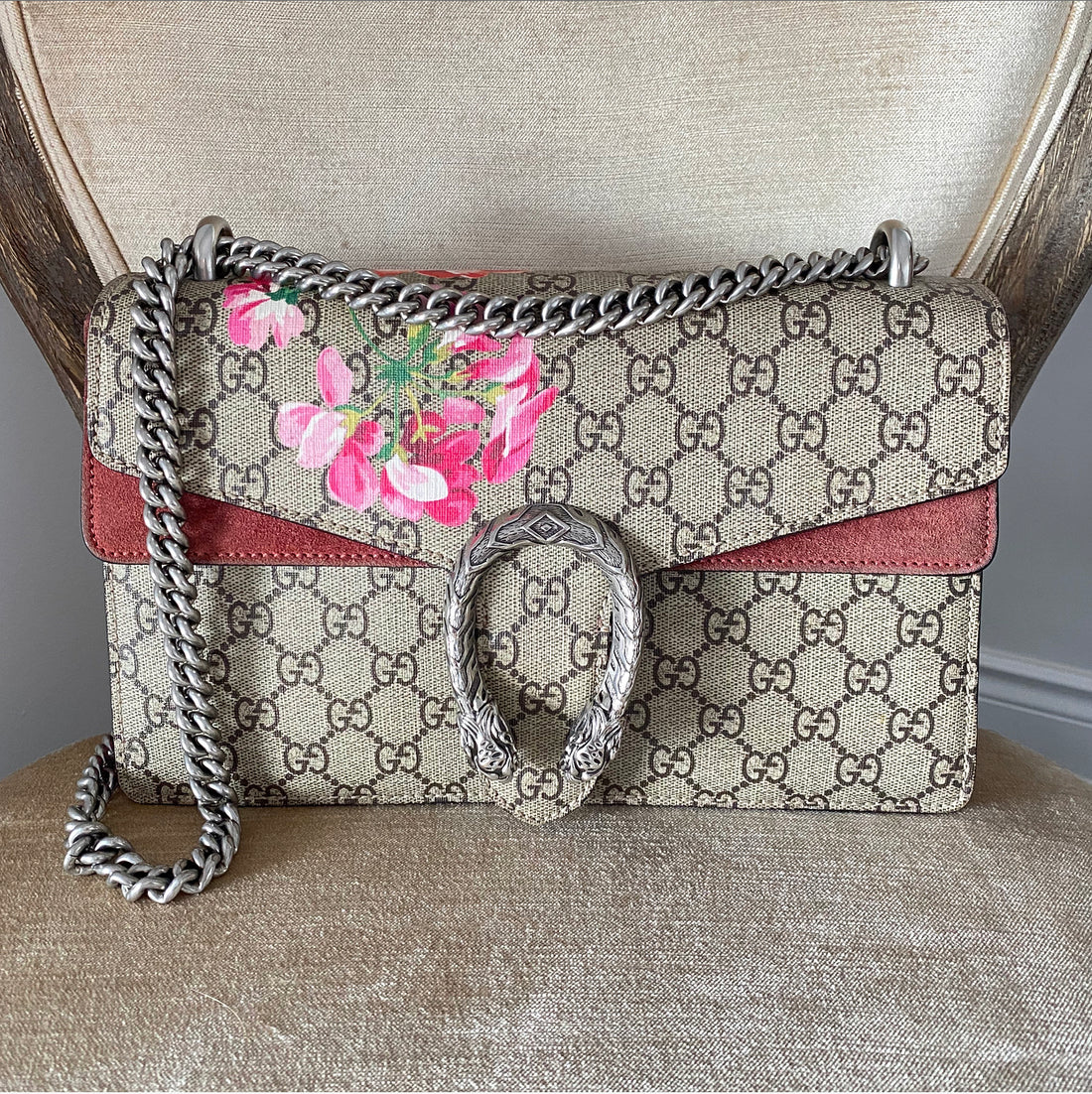 Gucci Monogram Canvas Small Dionysus Blooms Bag