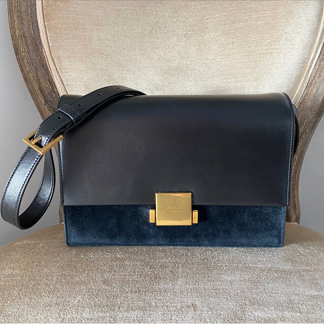 Saint Laurent Black Leather and Suede Bellechasse Crossbody Bag