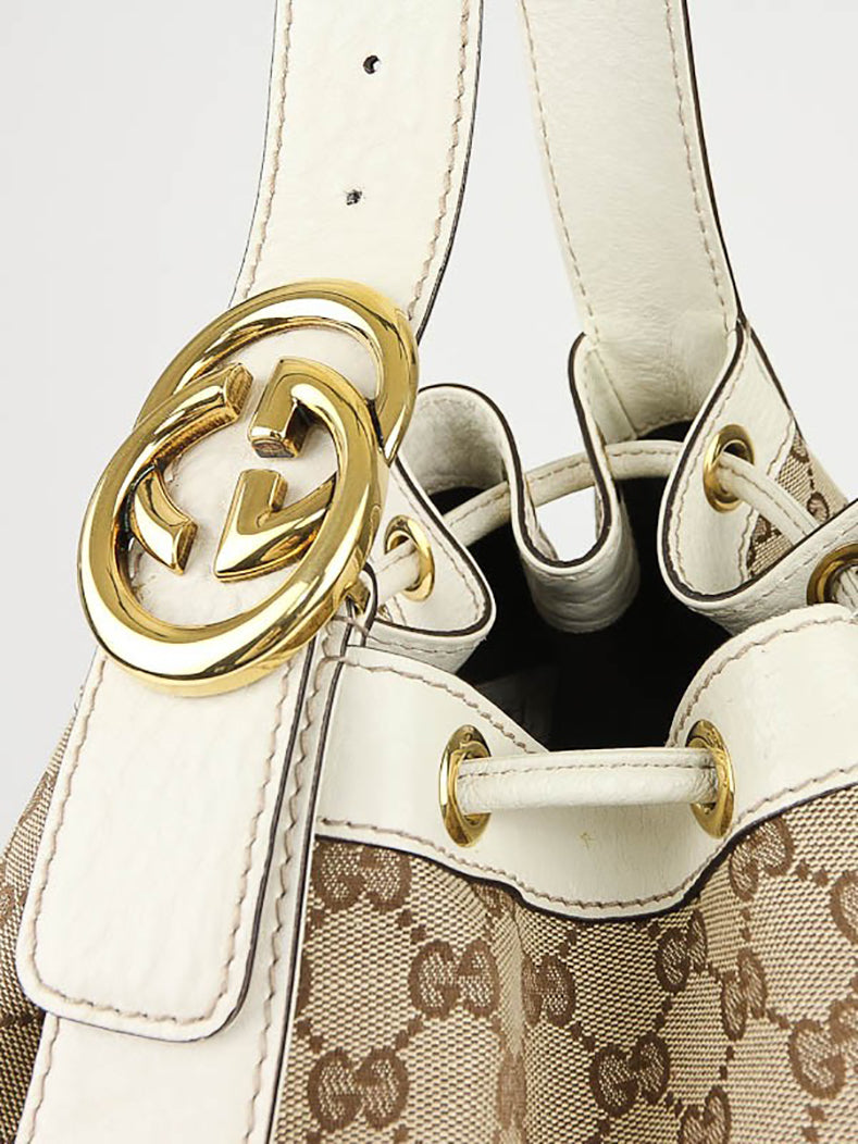 Gucci Interlocking Icon GG Ivory Monogram Canvas Large Drawstring Hobo Bag