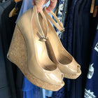 Jimmy Choo Beige Patent Peep Toe Pacific 120 Cord Wedge Heels