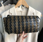 Fendi Vintage 1980's Coated Canvas Zucca Zip Pleat Clutch Bag