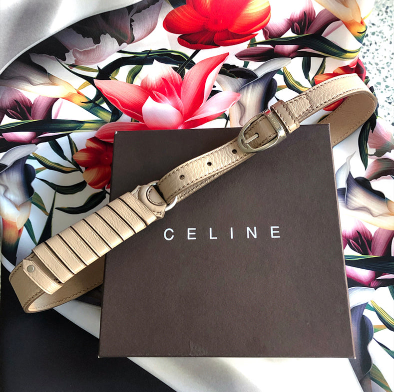 Celine Vintage Nude Leather Belt in Box