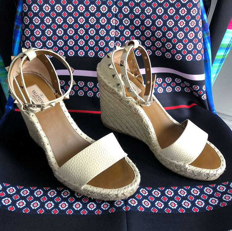 Valentino Ivory Rock Stud Ankle Strap Espadrille Double Wedge Sandals - 38