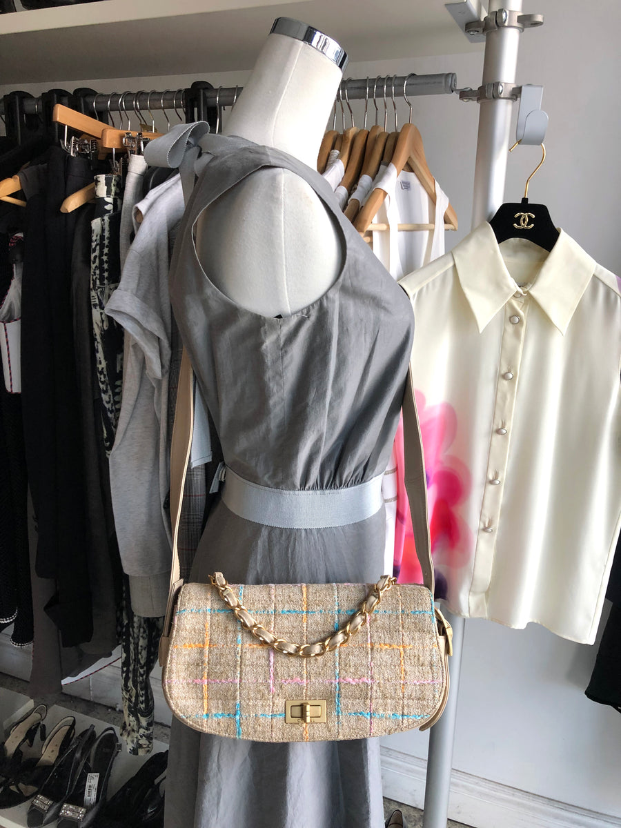 Chanel Beige Tweed Convertible 3 in 1 Crossbody Bag