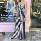 Chanel Pre-Fall 2013 Navy and Ivory Strapless Stripe Jumpsuit - FR38 / USA S