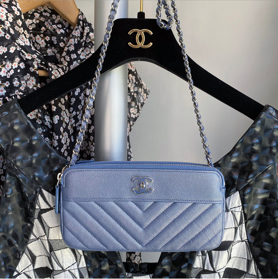 Chanel Caviar Chevron Classic Double Zip Blue WOC Wallet on Chain