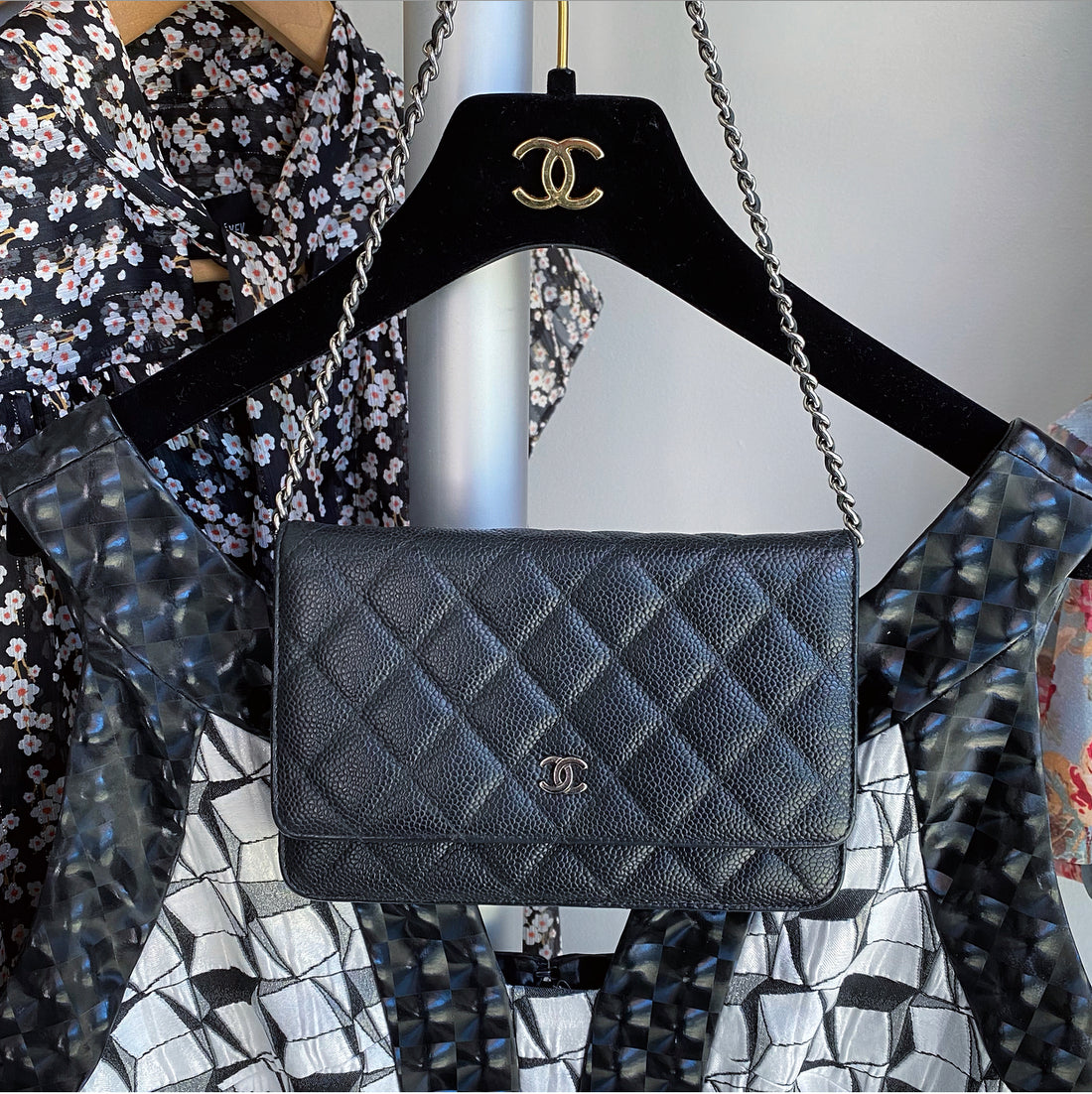 Chanel Black Caviar Classic Quilted Wallet on Chain WOC