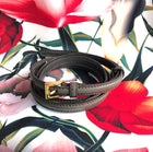 Prada Dark Taupe Saffiano Leather Skinny Belt - 34
