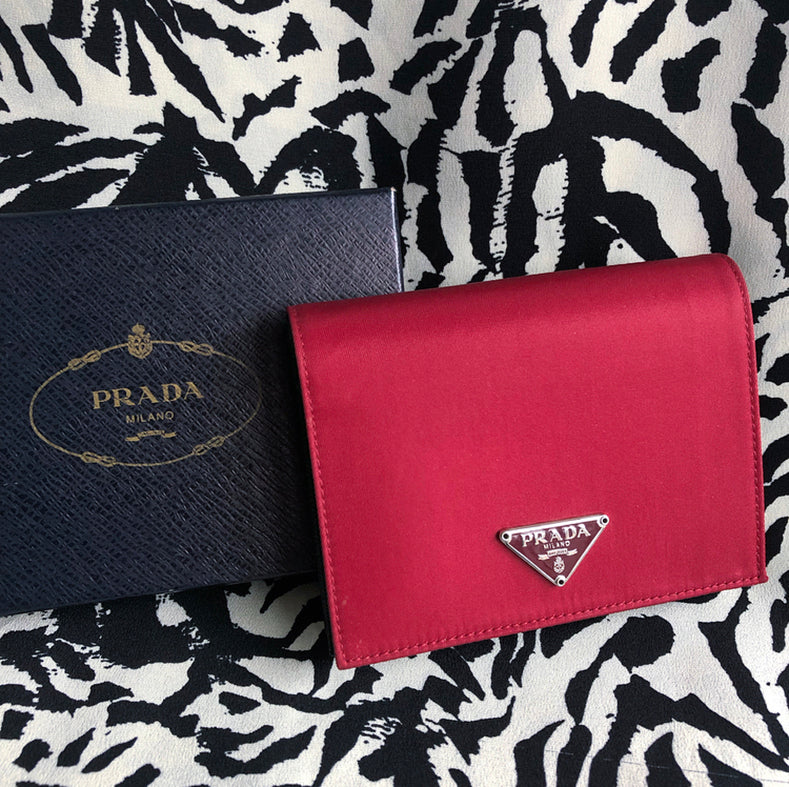 Prada Red Tessuto Nylon and Black Saffiano Leather Bifold Wallet