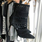 Manolo Blahnik Black Suede Perforated Ankle Boots - 36.5